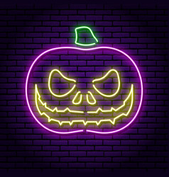 Pumpkin with eyes and an evil smile purple neon vector