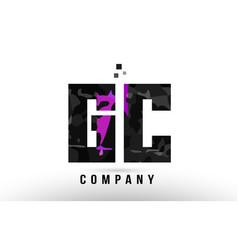 Purple black alphabet letter gc g c logo vector
