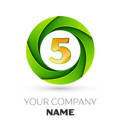 Realistic number five logo in the colorful circle vector