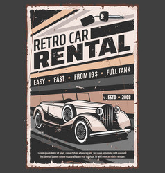 Retro car vintage limousine rental service vector