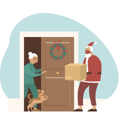 Safe and fast delivery on christmas vector