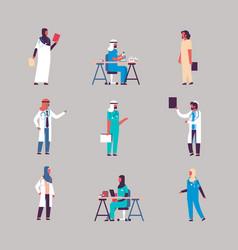 set diversity arabian medical workers stethoscope vector image