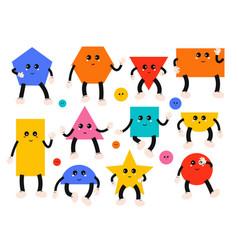 set geometric shapes cute comic characters vector image