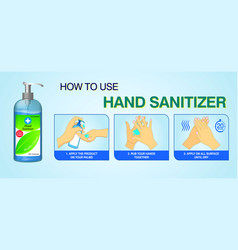 Set how to use hand sanitizer properly or step vector