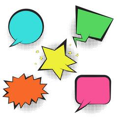 set of bright colorful retro comic speech bubbles vector image