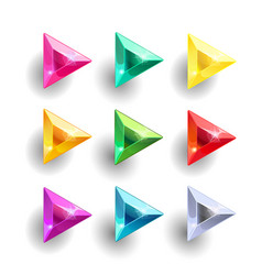 set of cartoon triangle different color crystals vector image