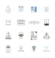 Set of minimal geometric hipster logos vector
