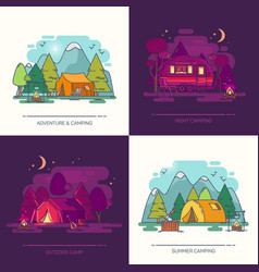 Set of outdoor day or night view on camp in forest vector