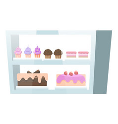 Showcase with muffins and cakes confectionery vector