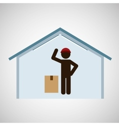 silhouette worker cardboard box delivery vector image