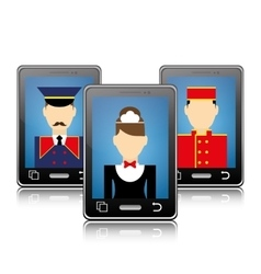 Smartphone and human resources of hotel design vector
