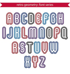 Smooth retro geometric characters set rounded vector