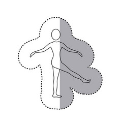 sticker silhouette woman standing stretching leg vector image