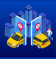 taxi service mobile phone with taxi app on city vector image