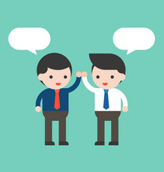 Two businessman high five and blank bubble speech vector