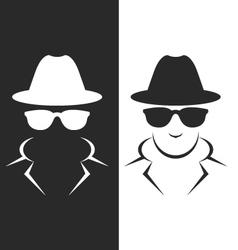 Undercover agent or spy - private detective icon vector