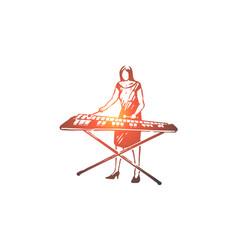 Vibraphone music woman instrument play vector