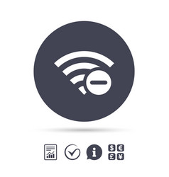 wifi minus sign wi-fi symbol wireless vector image