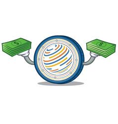 With money factom coin mascot cartoon vector