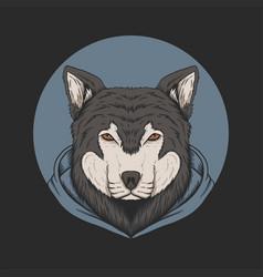 wolf hoodie vector image