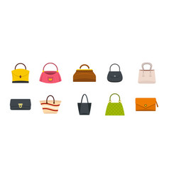 woman bag icon set flat style vector image