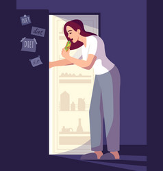 Woman breaking diet semi flat rgb color vector
