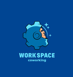 work space coworking abstract sign emblem vector image