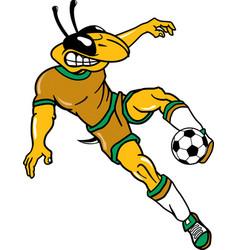 Yellow jacket sports logo mascot soccer vector