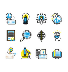 12 studies and science icons vector image