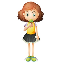 A young girl eating an ice cream vector image