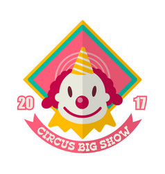 Circus big show logo label with clown isolated on vector