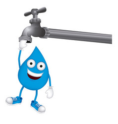 drop with face in the faucet icon vector image