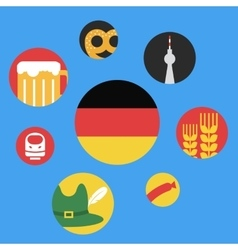 germany round flat icon set vector image