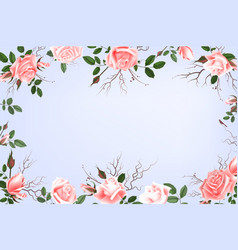 greeting card with roses watercolor can be used vector image