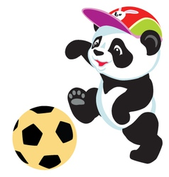 panda playing with ball vector image vector image