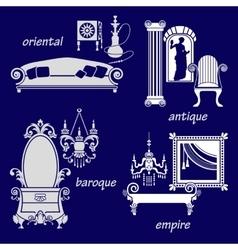 Set styles of interior design vector image