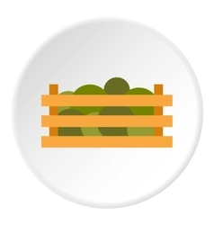 Wooden crate with vegetables icon flat style vector