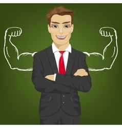 businessman with chalk healthy strong arm muscles vector image