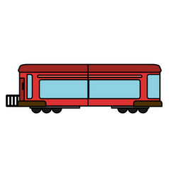 cartoon red train wagon rail vector image