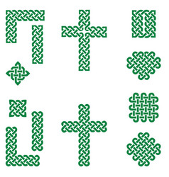 celtic style endless knot symbols in green vector image