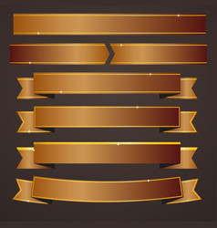 collection set of bronze ribbons banners vector image