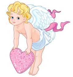 Cupid Holding a Heart vector image vector image