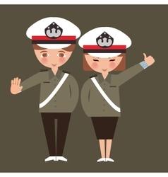 kids boy and girl wearing police cop uniform vector image vector image