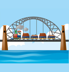 Train loaded with logs and stones on the bridge vector