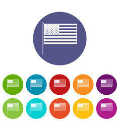 american flag set icons vector image vector image