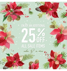 Christmas Sale Poster - with Winter Poinsettia vector image vector image