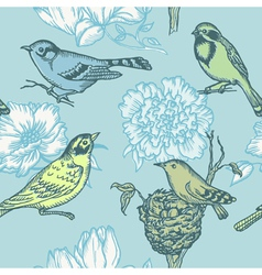 Birds and Flowers - seamless pattern vector image vector image