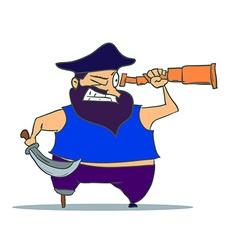 Cartoon one-legged pirate with spyglass vector