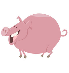 Cartoon pig farm animal character vector