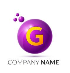 G letter splash purple dots and circle bubble vector